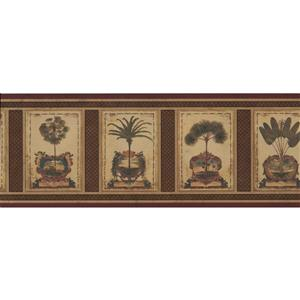 Retro Art Vintage Palm Trees Wallpaper Border - Brown