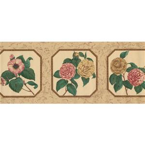 Retro Art Flowers in Plates Vintage Wallpaper - Pink/Yellow