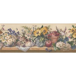 Retro Art Flowers in Pots Kitchen Wallpaper - White/Yellow