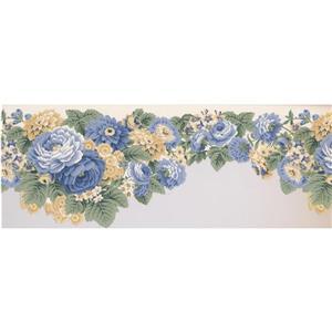 Retro Art Floral Wallpaper - Blue/Yellow