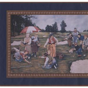 Retro Art Vintage Golf Scenes Sports Wallpaper Border