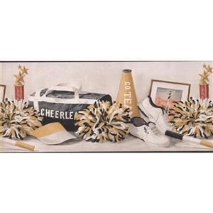 York Wallcoverings Cheerleader Wallpaper Border - Black/White