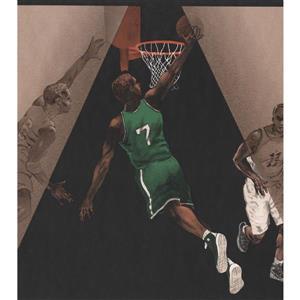 York Wallcoverings Retro Basketball Players Wallpaper Border - Black/Brown