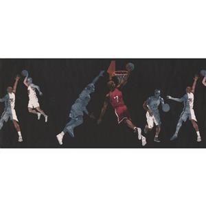 York Wallcoverings Retro Basketball Players Wallpaper Border - Black
