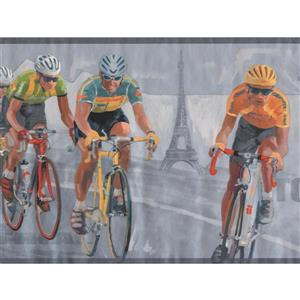 York Wallcoverings Vintage Tour de France Bicycle Wallpaper - Grey/Black