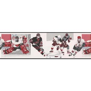 Norwall Vintage Hockey Wallpaper Border - Black/White