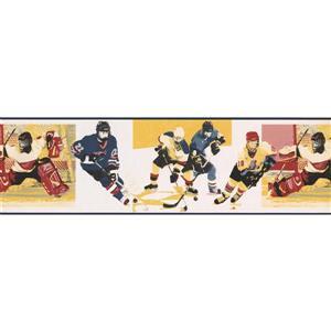 Norwall Vintage Hockey Wallpaper Border -  Blue/Yellow