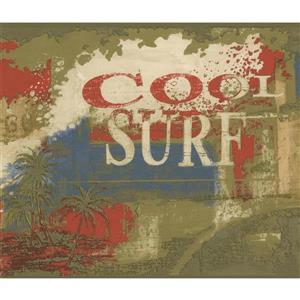 Norwall Vintage Cool Surf Wallpaper Border - Multicolour