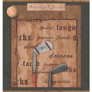 York Wallcoverings Vintage Golf Clubs and Balls Wallpaper Border