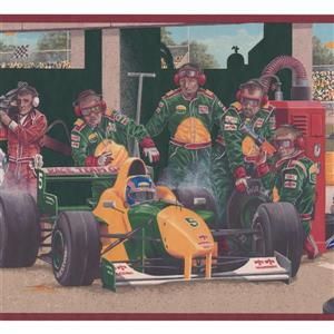 Retro Art Vintage Pit Stop on Race Track Wallpaper