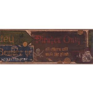 York Wallcoverings Kids Vintage Pirate Marquees Wallpaper - Blue/Brown