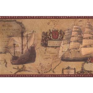 Norwall Vintage Sailboats Wallpaper - Light Brown