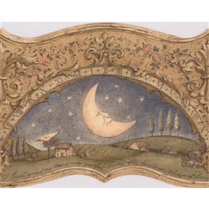 Retro Art Moon and Sun Wallpaper Border - Beige