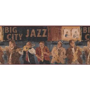York Wallcoverings Vintage Big City Jazz Band Wallpaper Border - Brown/Black