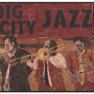 York Wallcoverings Vintage Big City Jazz Band Wallpaper Border