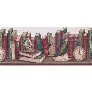 Retro Art Vintage Books on the Shelf Wallpaper Border