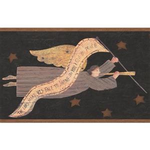 Chesapeake Vintage Angel Flying in the Sky Wallpaper - Charcoal Grey