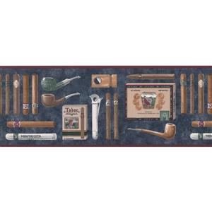 Retro Art Vintage Cigars and Pipes Wallpaper Border