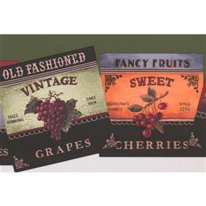 York Wallcoverings Retro Fruit Wallpaper Border - Green
