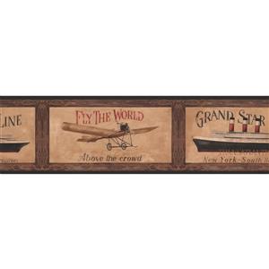 York Wallcoverings Retro Travel Wallpaper Border - Brown