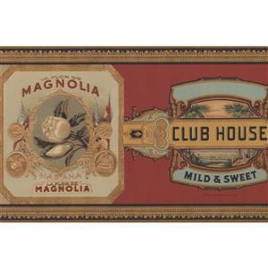 Retro Art Vintage Pipe and Cigar Wallpaper Border - Burgundy