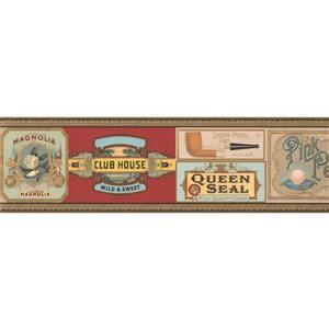 Retro Art Vintage Pipe and Cigar Wallpaper Border