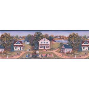 Chesapeake Retro American Village Wallpaper Border