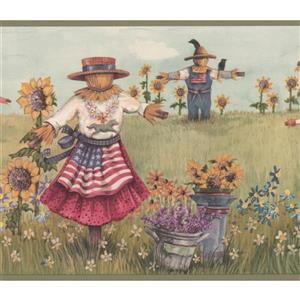 Retro Art Vintage Scarecrows and Sunflower Wallpaper Border