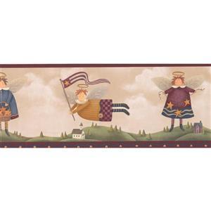 Retro Art Vintage Angels over Village  Wallpaper - Beige/Brown