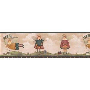 Retro Art Angels over Village Wallpaper Border - Green