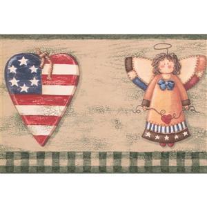 Retro Art Heart with American Flag Wallpaper Border - Green/Beige