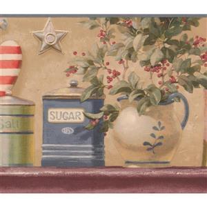 Retro Art Vintage Flower Plants in Pots Wallpaper