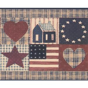 Retro Art US Flag and Birdhouse Wallpaper