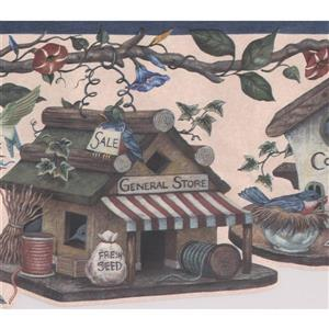 Retro Art Birdhouses and Flowers Vintage Wallpaper Border