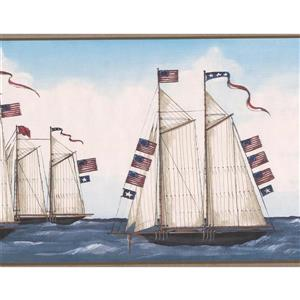 Retro Art Vintage US Flag and Sailboats Wallpaper