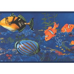 York Wallcoverings Striped Fish and Seahorse in Ocean - Yellow/Orange