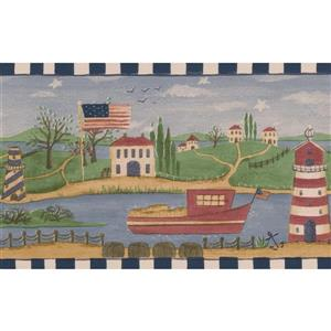 Retro Art Lighthouse Village on River Wallpaper Border