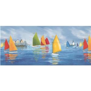 York Wallcoverings Sailboats and Lighthouse Wallpaper - Green/Yellow