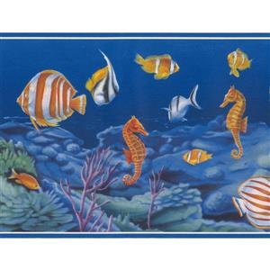 Norwall Vintage Colourful Fish and Seahorse Wallpaper Border