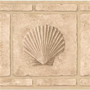 Retro Art Faux Bricks with Shell Wallpaper Border - Beige