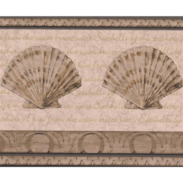 Retro Art Abstract Seashells Bathroom Wallpaper Border Beige