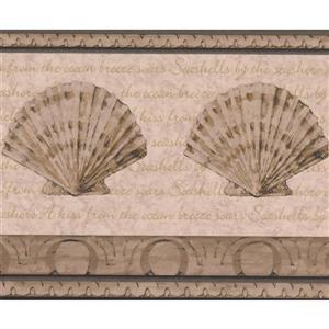Retro Art Abstract Seashells Bathroom Wallpaper Border - Beige
