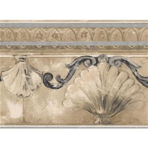 Norwall Abstract Seashells and Damask Wallpaper - Beige/Grey
