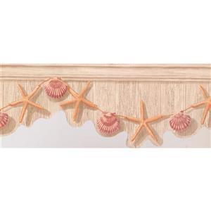 York Wallcoverings Starfish and Seashell Wallpaper - Orange/Purple