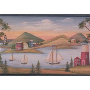 Chesapeake Sailboats and Lighthouses Wallpaper Border