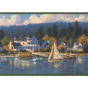 Chesapeake Marina and Sailboats Nautical Wallpaper Border