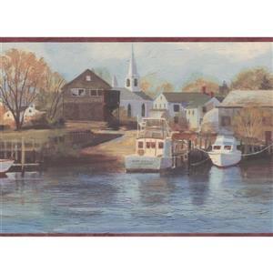 Chesapeake Marina and Yacht Club Wallpaper Border -Burgundy