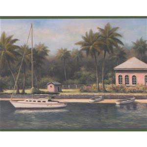 Chesapeake Sailboats and Palm Trees Wallpaper - Green/Blue