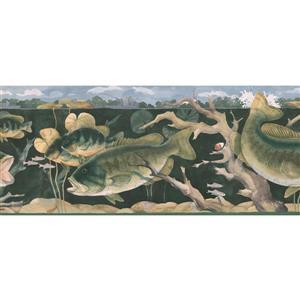 Retro Art Fishermen in Boat Nautical Wallpaper - Green