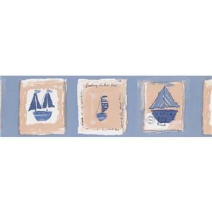 York Wallcoverings Vintage Sailboats on Postcards Wallpaper - Blue